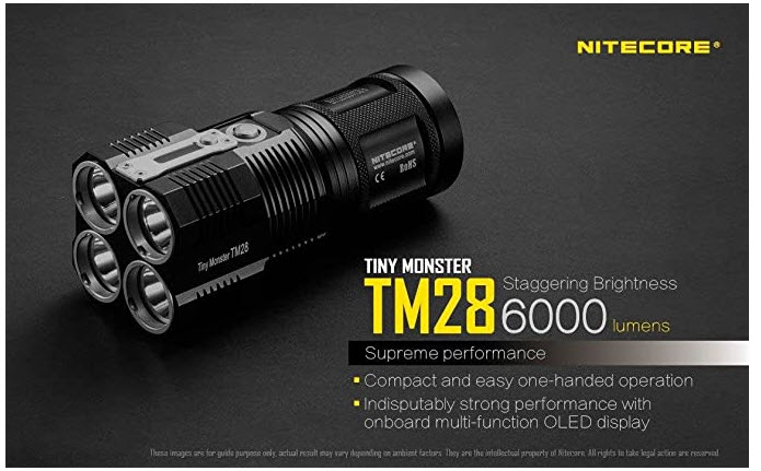 EdisonBright NITECORE TM28 Tiny Monster 6000 Lumen LED Flashlight Searchlight with 4 X Nitecore