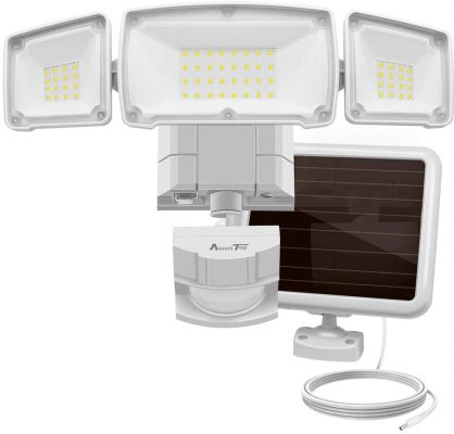 Solar Lights Outdoor, AmeriTop Super Bright LED Solar Motion Sensor Lights with Wide Angle Illumination; 1500LM 6000K, 3 Adjustable Heads, IP65 Waterproof